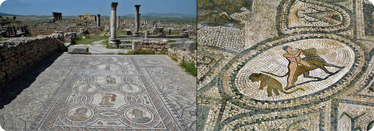 Meknes: Two Examples of the Exquisite Floor Mozaics depicting Roman Myths