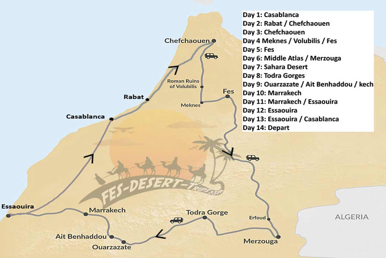 Plan of the phenomenal 14 Days tour around Morocco is not to be missed.
